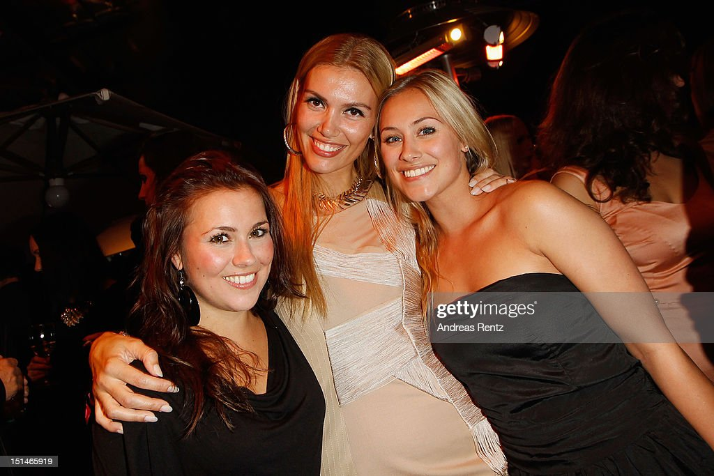 Sina Tkotsch, Jackie Hide and Sarah Tkotsch attend the music meets media party on September 7, 2012 in Berlin, Germany.