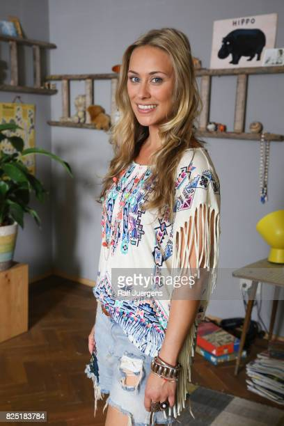 Sina Tkotsch poses during the set visit of the new RTL tv sitcom 'Beste Schwestern' on August 1 2017 in Cologne Germany