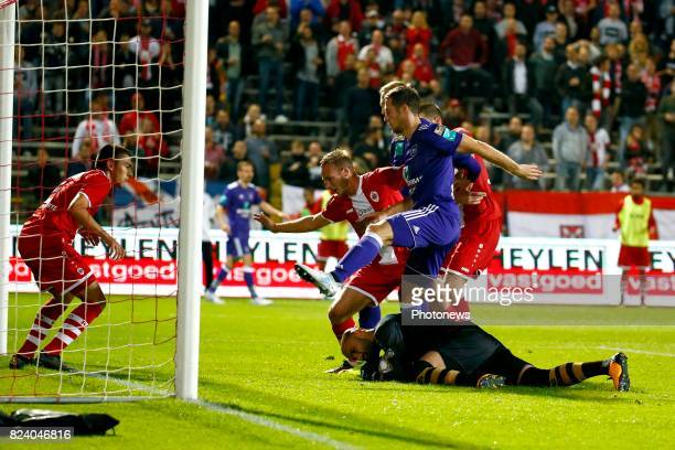Sinan Bolat goalkeeper of Antwerp FC and Lukasz Teodorczyk forward of RSC Anderlecht and Uros Spajic defender of RSC Anderlecht pictured during the...