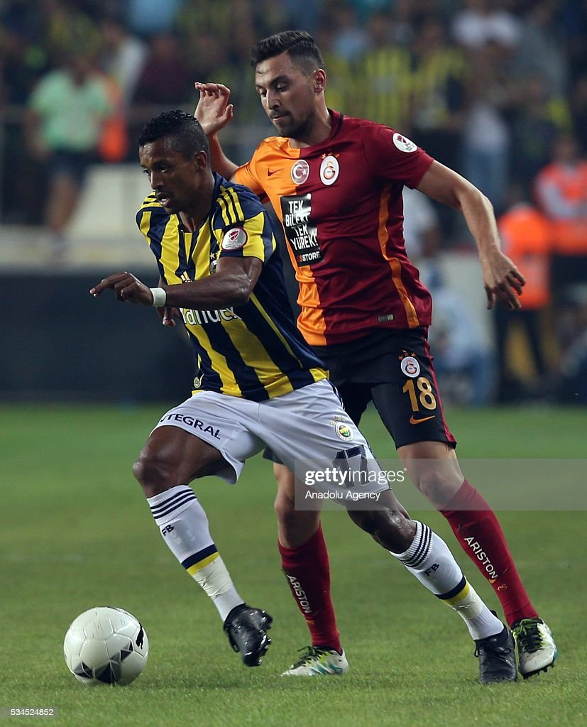 Sinan Gumus (right) of Galatasaray and Luis Nani (L) of Fenerbahce vie for the ball during the Ziraat Turkish Cup Final match between Galatasaray and Fenerbahce at Antalya Ataturk Stadium in Antalya, Turkey on May 26, 2016.