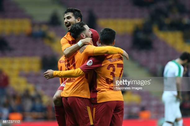 Sinan Gumus of Galatasaray celebrates with Recep Gul of Galatasaray during the Turkish Cup match between Galatasaray v Sivas Belediyespor at the Türk...