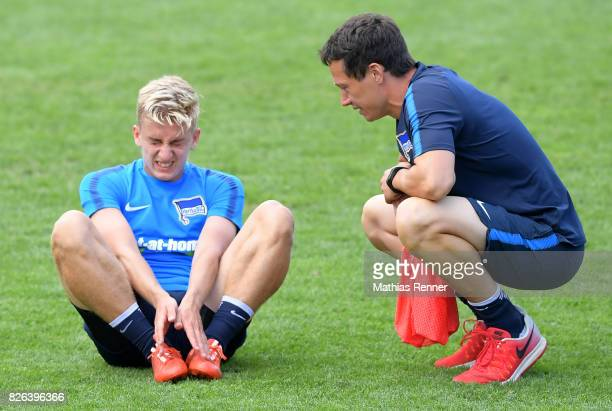 Sinan Kurt and Fitnesstrainer Henrik Kuchno of Hertha BSC during the training camp on august 4 2017 in Schladming Austria
