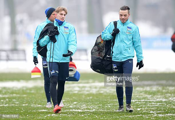 Sinan Kurt and Yanni Regaesel of Hertha BSC during the training of Hertha BSC on january 7 2016 in Berlin Germany