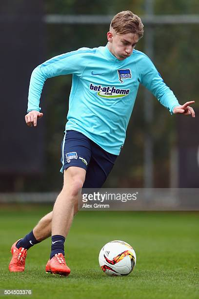 Sinan Kurt controles the ball during a Hertha BSC Berlin training session on day 6 of the Bundesliga Belek training camps at Gloria Sports Center on...