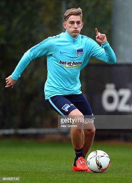 Sinan Kurt exercises during a Hertha BSC Berlin training session on day 6 of the Bundesliga Belek training camps at Gloria Sports Center on January...