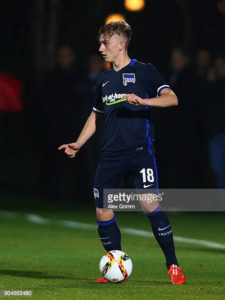 Sinan Kurt of Berlin controles the ball during a friendly match between Hannover 96 and Hertha BSC Berlin at Cornelia Sports Center on January 11...