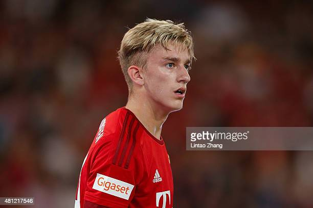 Sinan Kurt of FC Bayern Muenchen looks on during the international friendly match between FC Bayern Muenchen and Valencia FC during the Audi Football...