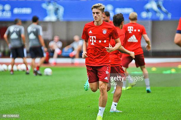 Sinan Kurt of FC Bayern Muenchen takes part in a training session at Tianhe Stadium ahead of the international friendly match between Guangzhou...