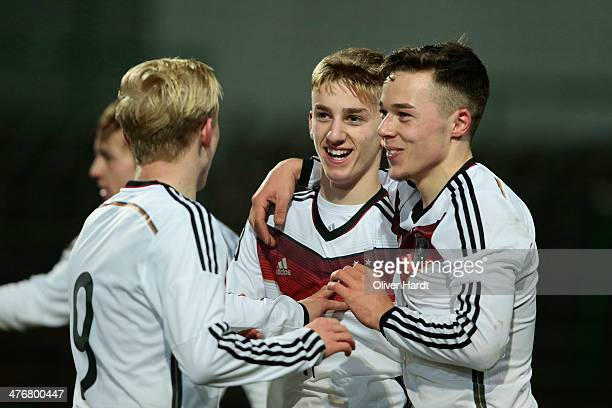 Sinan Kurt of Germany celebrates after scoring their first goal during the U18 International Friendly Match match between Germany and France at...