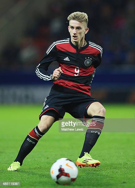 Sinan Kurt of Germany in action during the Under 18 International Friendly match between England U18 and Germany U18 at The New York Stadium on April...