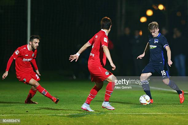 Sinan Kurt of Hannover controles the ball during a friendly match between Hannover 96 and Hertha BSC Berlin at Cornelia Sports Center on January 11...