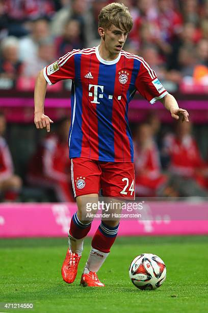 Sinan Kurt of Muenchen runs with the ball during the Bundesliga match between FC Bayern Muenchen and Hertha BSC Berlin at Allianz Arena on April 25...