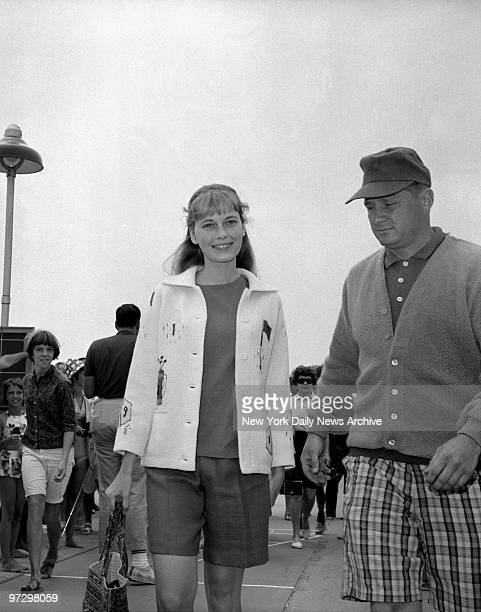 Sinatra's Third Wife Mia Farrow has a smile as she goes ashore at Martha's Vineyard Mass from 168foot yacht on which she is sailing with Frank...