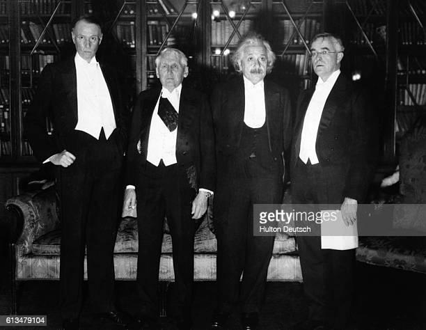 Sinclair Lewis Frank Kellogg Albert Einstein and Irving Langmuir at the 1933 Nobel Anniversary Dinner