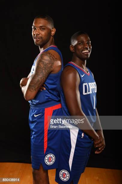 Sindarius Thornwell and Jawun Evans of the LA Clippers poses for a photo during the 2017 NBA Rookie Photo Shoot at MSG training center on August 11...