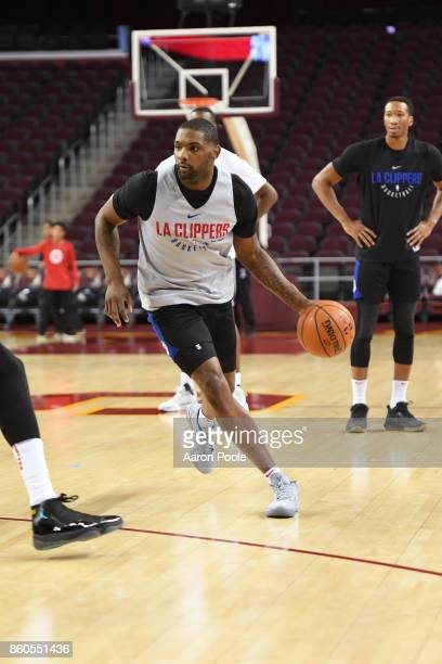 Sindarius Thornwell of the LA Clippers dribbles the ball at an open practice at the Galen Center on the campus of the University of Southern...