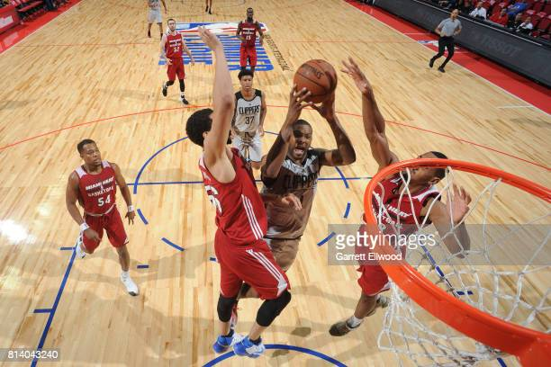 Sindarius Thornwell of the LA Clippers goes to the basket against the Miami Heat on July 13 2017 at the Thomas Mack Center in Las Vegas Nevada NOTE...