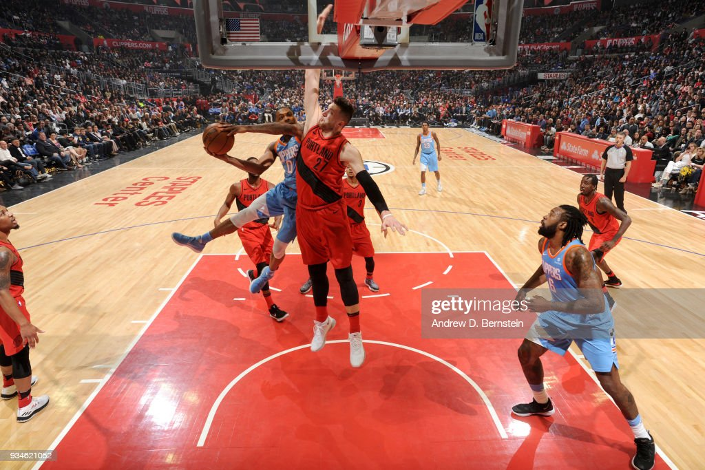 Sindarius Thornwell #0 of the LA Clippers goes to the basket against the Portland Trail Blazers on March 18, 2018 at STAPLES Center in Los Angeles, California.