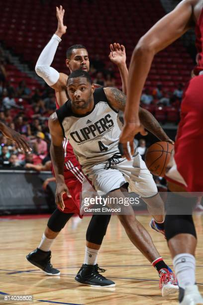 Sindarius Thornwell of the LA Clippers handles the ball against the Miami Heat on July 13 2017 at the Thomas Mack Center in Las Vegas Nevada NOTE TO...