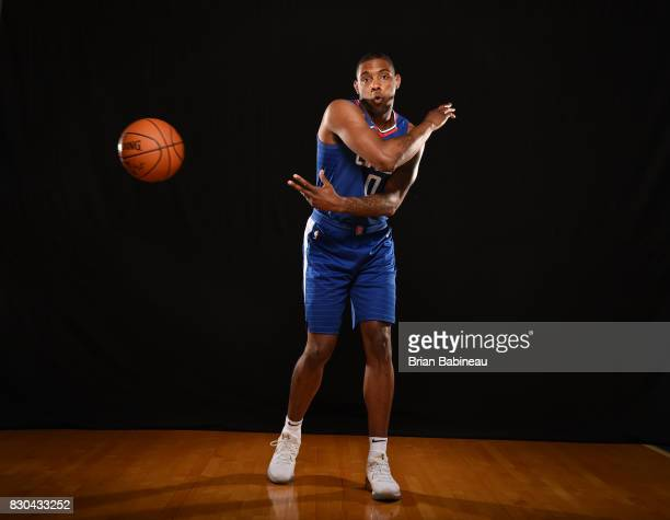 Sindarius Thornwell of the LA Clippers poses for a photo during the 2017 NBA Rookie Photo Shoot at MSG training center on August 11 2017 in Tarrytown...