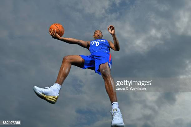 Sindarius Thornwell of the LA Clippers poses for a portrait during the 2017 NBA rookie photo shoot on August 11 2017 at the Madison Square Garden...