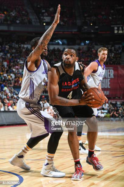 Sindarius Thornwell of the Los Angeles Clippers drives against the Los Angeles Lakers on July 7 2017 at the Thomas Mack Center in Las Vegas Nevada...