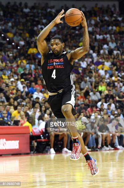 Sindarius Thornwell of the Los Angeles Clippers grabs a rebound against the Los Angeles Lakers during the 2017 Summer League at the Thomas Mack...