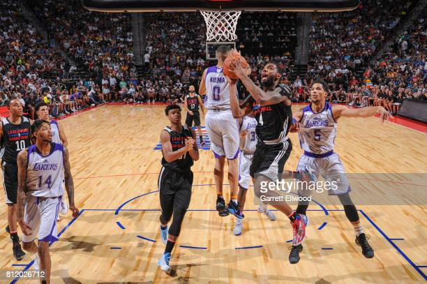 Sindarius Thornwell of the Los Angeles Clippers shoots against the Los Angeles Lakers on July 7 2017 at the Thomas Mack Center in Las Vegas Nevada...