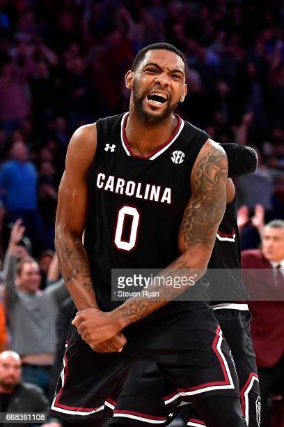Sindarius Thornwell of the South Carolina Gamecocks celebrates the play late in the game against the Florida Gators during the second half of the...