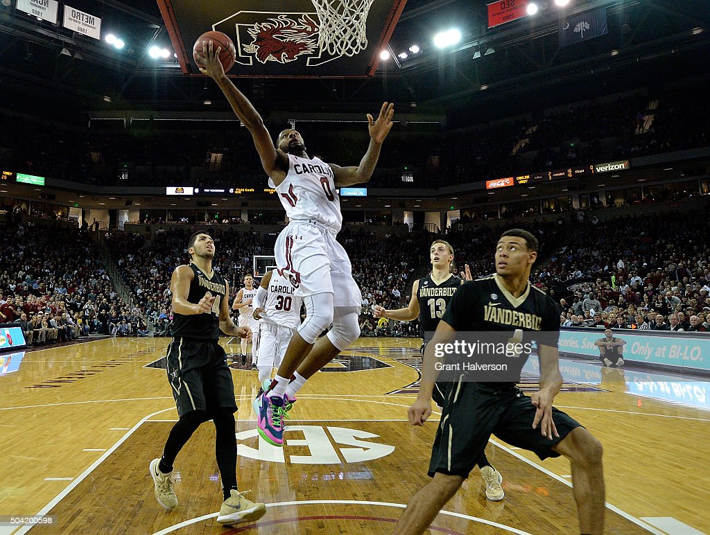 Sindarius Thornwell of the South Carolina Gamecocks drives to the basket during their game against the Vanderbilt Commodores at Colonial Life Arena...