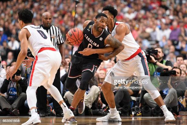 Sindarius Thornwell of the South Carolina Gamecocks drives to the basket against the Gonzaga Bulldogs during the 2017 NCAA Men's Final Four Semifinal...