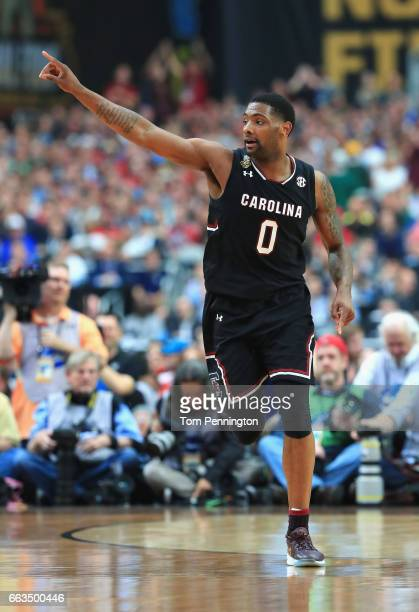 Sindarius Thornwell of the South Carolina Gamecocks reacts after a play in the first half against the Gonzaga Bulldogs during the 2017 NCAA Men's...
