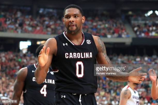 Sindarius Thornwell of the South Carolina Gamecocks reacts after a play in the second half against the Gonzaga Bulldogs during the 2017 NCAA Men's...