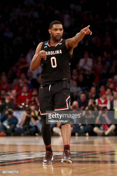 Sindarius Thornwell of the South Carolina Gamecocks reacts against the Baylor Bears during the 2017 NCAA Men's Basketball Tournament East Regional at...
