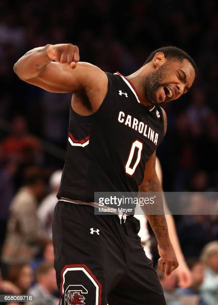 Sindarius Thornwell of the South Carolina Gamecocks reacts against the Florida Gators during the 2017 NCAA Men's Basketball Tournament East Regional...