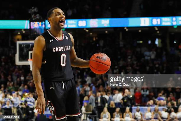 Sindarius Thornwell of the South Carolina Gamecocks reacts in the second half against the Duke Blue Devils during the second round of the 2017 NCAA...