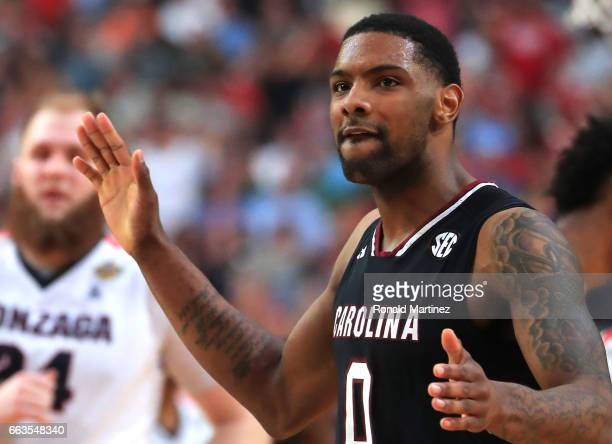 Sindarius Thornwell of the South Carolina Gamecocks reacts in the second half against the Gonzaga Bulldogs during the 2017 NCAA Men's Final Four...