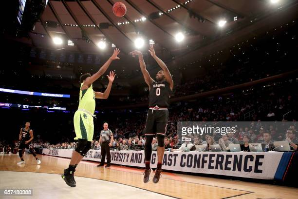 Sindarius Thornwell of the South Carolina Gamecocks shoots the ball against the Baylor Bears during the 2017 NCAA Men's Basketball Tournament East...