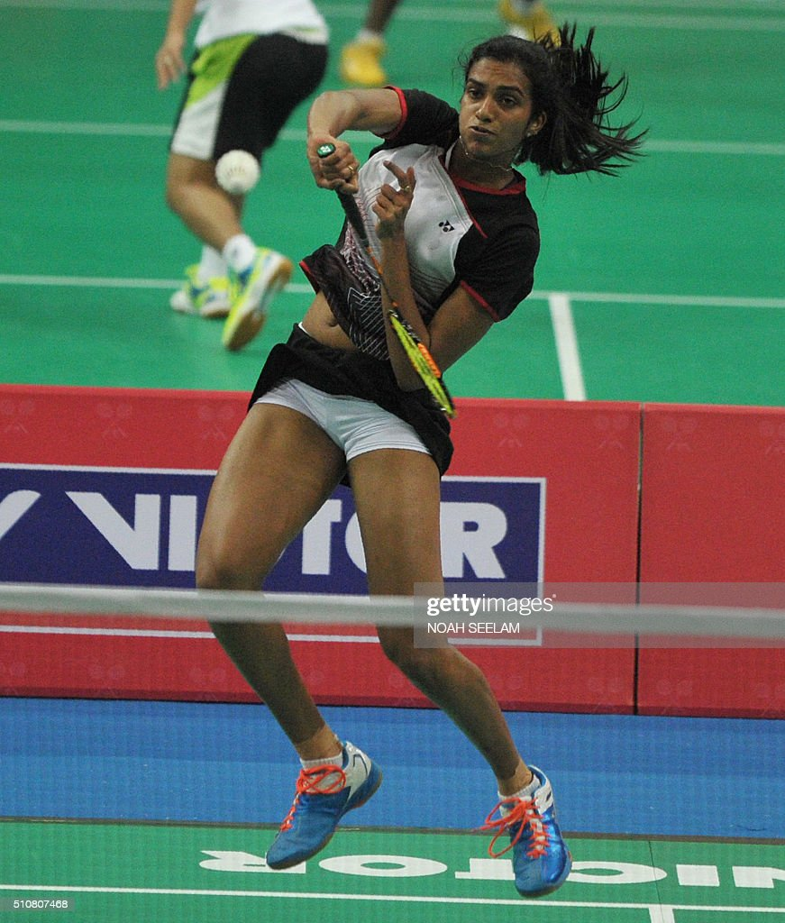P V Sindhu of India plays against Xiaoyu Liang of Singapore