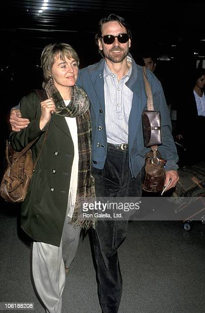 Sinead Cusack and Jeremy Irons during Jeremy Irons Sighting at LAX Departing For New York March 22 1994 at Los Angeles International Airport in Los...