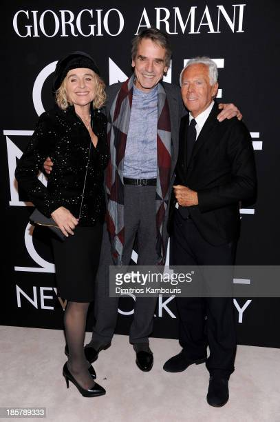 Sinead Cusack Jeremy Irons and Giorgio Armani attend Giorgio Armani One Night Only NYC at SuperPier on October 24 2013 in New York City