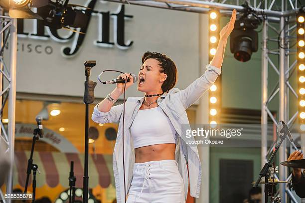 Sinead Harnett performs at Style Night at Carnaby Street on May 05 2016 in London England