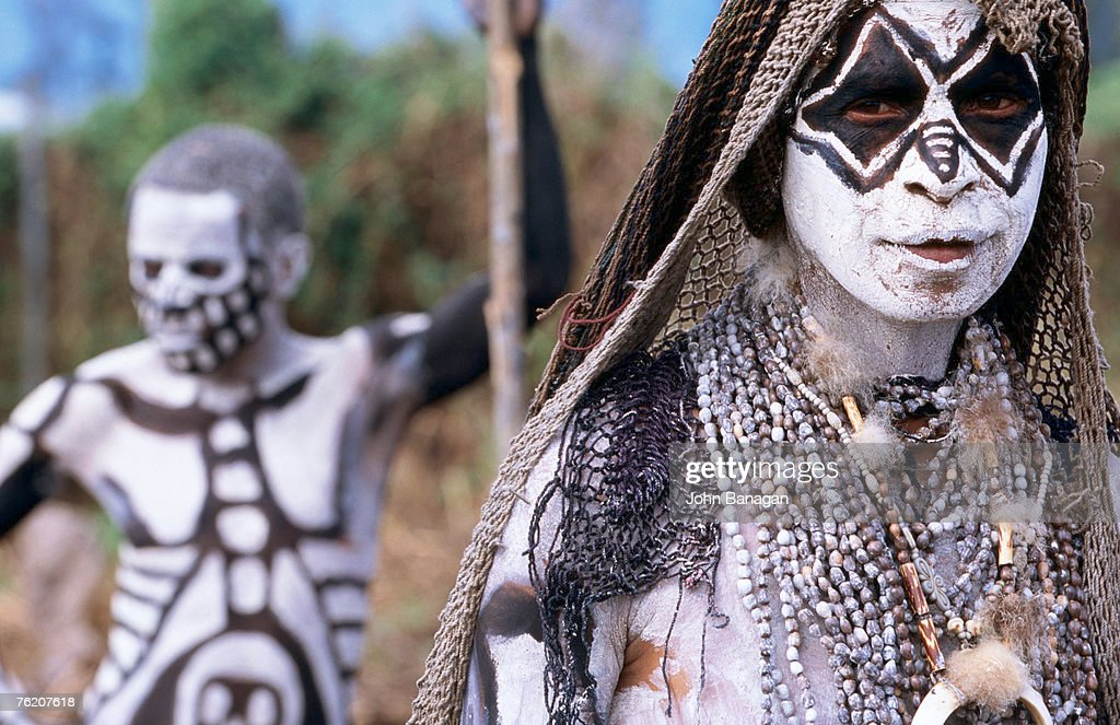 Sing Sing group members with skeleton-like body paint at Mt Hagen Cultural Show, Mt Hagen, Western Highlands, Papua New Guinea, Pacific