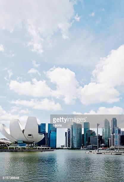Singapore ArtScience Museum and CBD Skyline