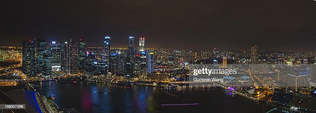 CONTENT] Singapore bird eye view during 'i Light Marina Bay' lighting event.