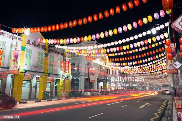 Singapore Chinatown with lanterns and light streak