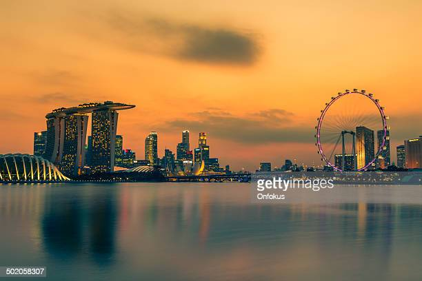 Singapore City Skyline at Sunset