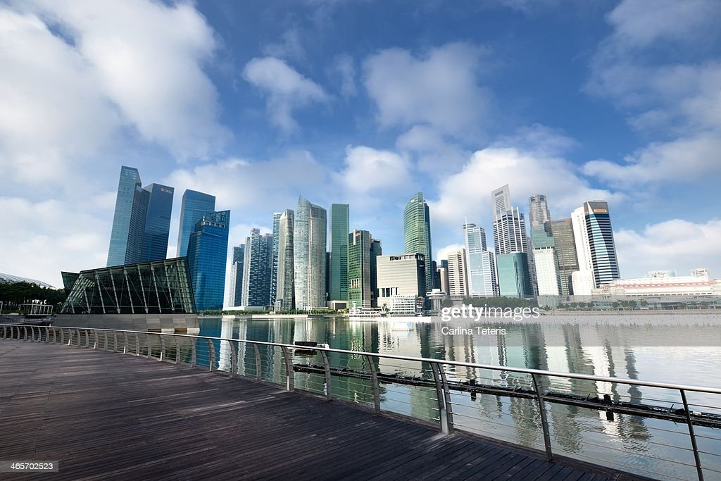 Singapore city skyline with walkway