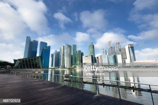 Singapore city skyline with walkway