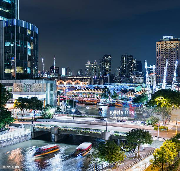 Singapore, Clarke Quay and river, at night